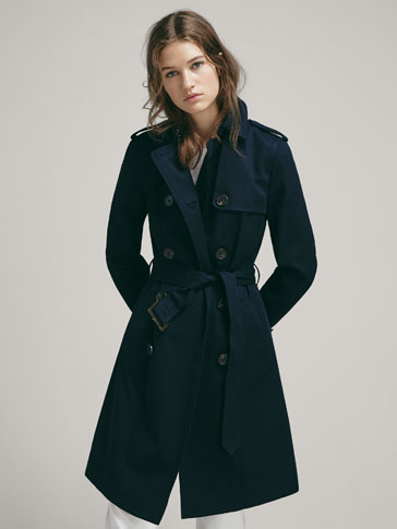 TWILL TRENCH COAT WITH BELT