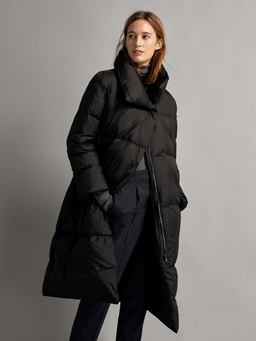 LONG DOWN PUFFER COAT WITH TIE BELT