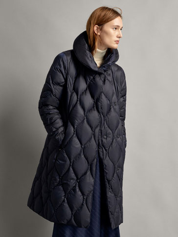 LONG DOWN PUFFER COAT WITH TOPSTITCHING