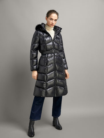 LONG DOWN PUFFER COAT WITH BELT AND HOOD