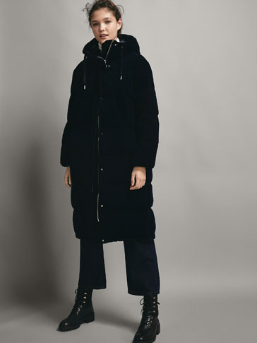 NAVY LONG VELVET DOWN JACKET