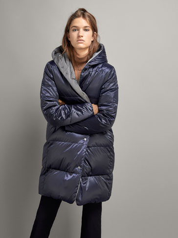 LONG REVERSIBLE PUFFER COAT