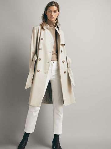 COTTON TRENCH COAT WITH CONTRAST LINING