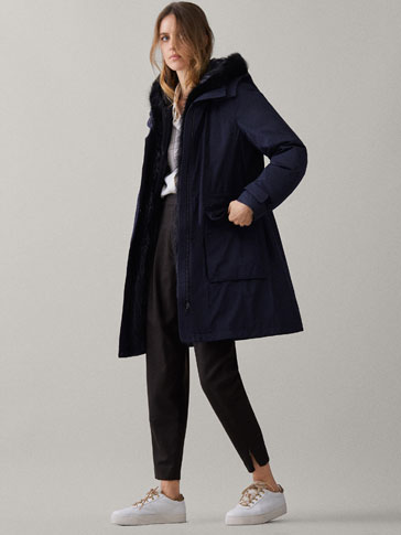 NAVY DOWN PARKA WITH REMOVABLE LINING