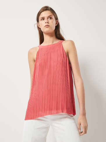 PLEATED TOP WITH BOW