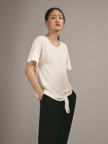 주얼리 & 매듭 디테일 티셔츠