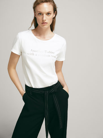 COTTON SLOGAN T-SHIRT