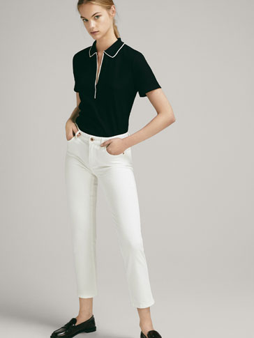 RIBBED POLO SHIRT WITH TIPPING DETAIL