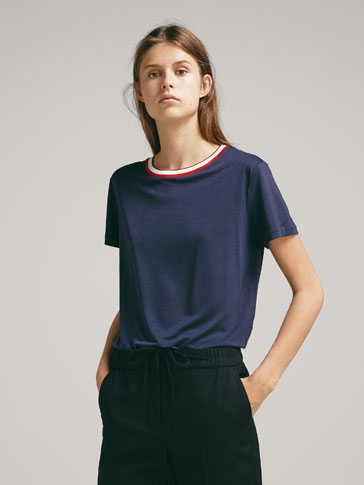 CONTRASTING LYOCELL T-SHIRT