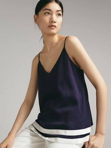 DOUBLE-LAYER TOP WITH CONTRAST HEM