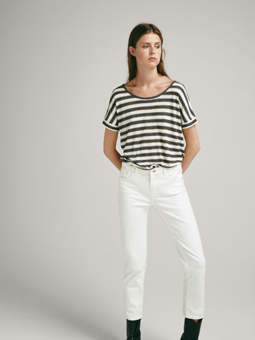RIBBED T-SHIRT WITH SHINY STRIPES