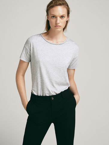 LYOCELL T-SHIRT MET METALLIC APPLICATIES