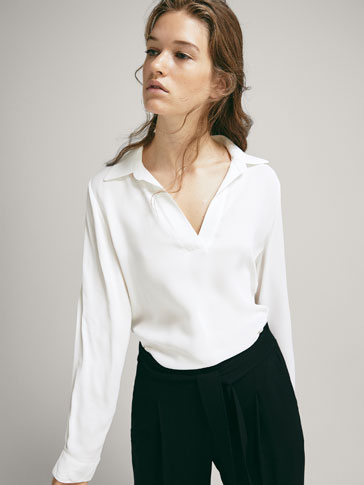 COMBINED TOP WITH SHIRT COLLAR