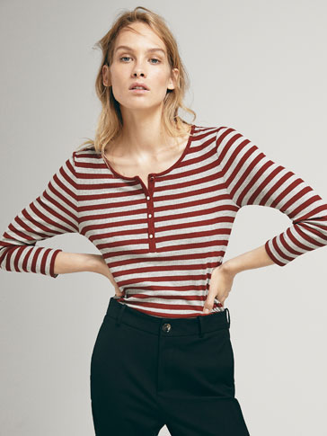 RIBBED T-SHIRT WITH PLACKET STRIPES