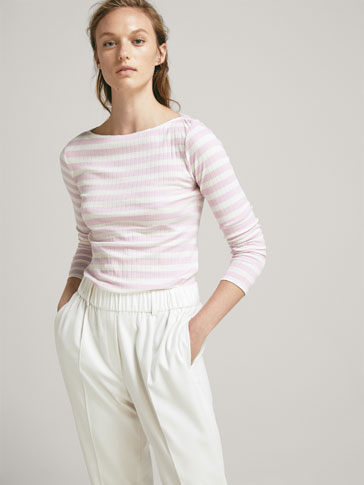 RIBBED STRIPED T-SHIRT WITH CONTRAST PIPED SEAMS