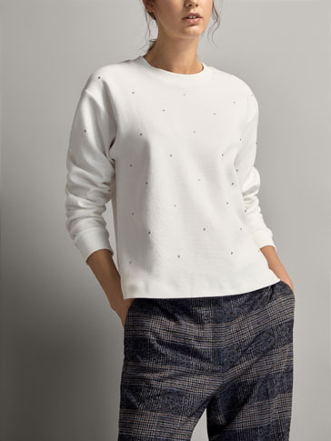 BEADED COTTON SWEATSHIRT