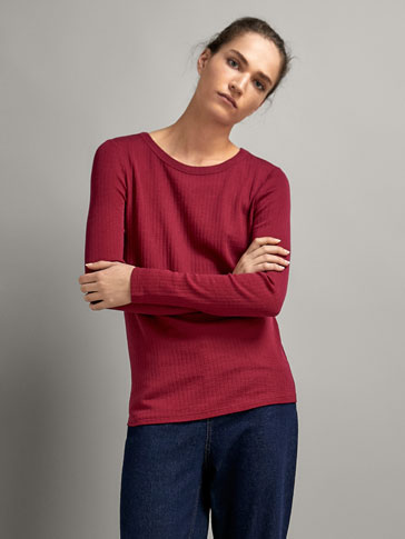 STRIPED TEXTURED WOOL T-SHIRT