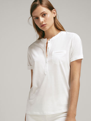COTTON/LYOCELL T-SHIRT WITH BUTTONS