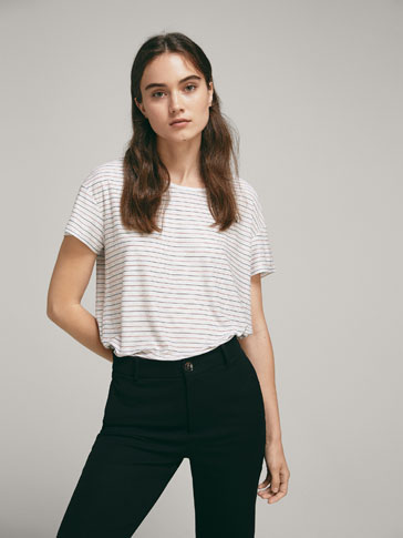 STRIPED AND SHIMMERY T-SHIRT