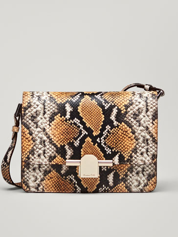 LEATHER SNAKESKIN-EFFECT CROSSBODY BAG WITH METAL DETAIL