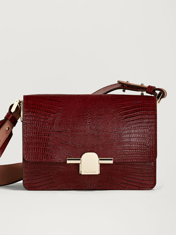 Leather Crossbody Bag With Metal Clasp by Massimo Dutti