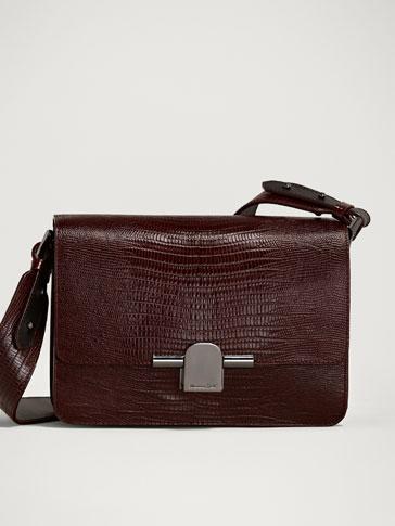 حقيبة ماسنجر جلدية بزمام معدني