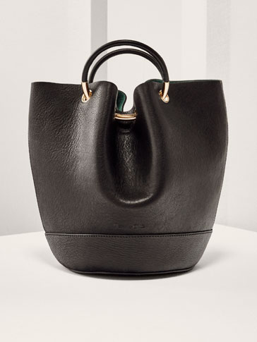 LIMITED EDITION LEATHER BUCKET BAG WITH GOLD DETAIL