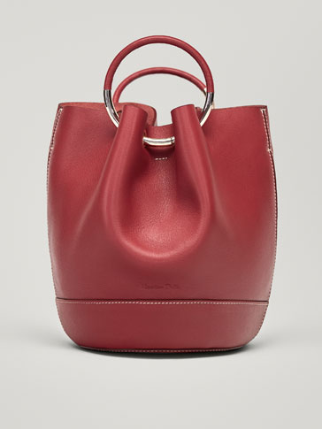 LEATHER BUCKET BAG WITH METAL DETAILS