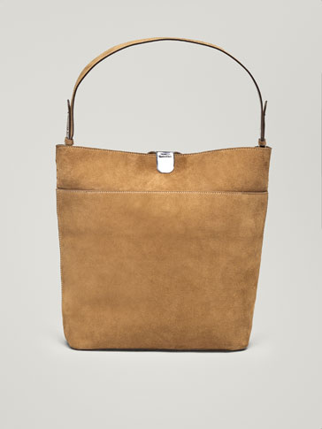 SPLIT SUEDE HANDBAG WITH METAL CLASP