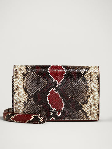 LEATHER SNAKESKIN FINISH HANDBAG