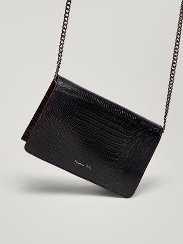Leather Snakeskin Finish Handbag by Massimo Dutti