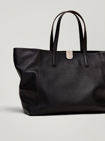 NAPPA LEATHER TOTE BAG WITH METAL CLASP