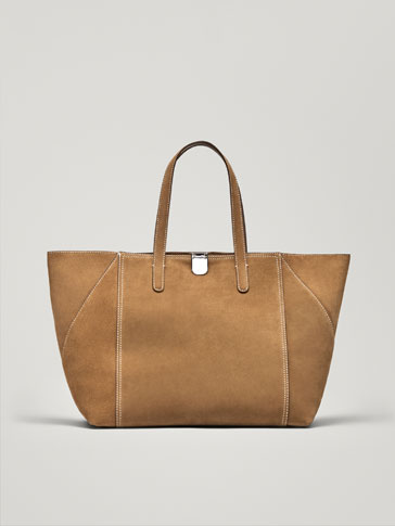 SPLIT SUEDE TOTE BAG WITH METAL CLASP