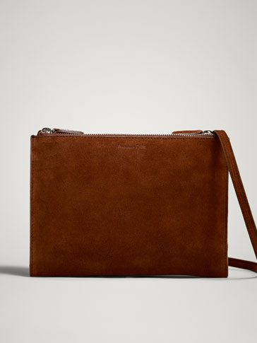 PLAIN SPLIT SUEDE CROSSBODY BAG