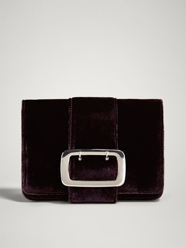 VELVET LEATHER CROSSBODY BAG WITH BUCKLE
