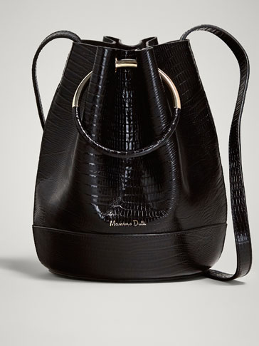 MOCK CROC LEATHER BUCKET BAG