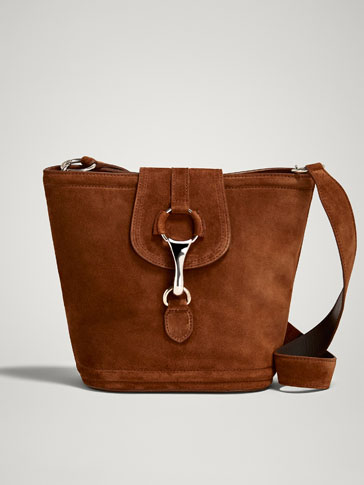 SPLIT SUEDE CROSSBODY BAG WITH LOBSTER CLASP
