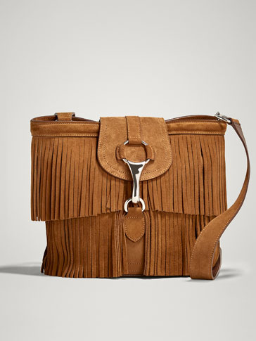 SPLIT SUEDE CROSSBODY BAG WITH FRINGE AND LOBSTER CLASP