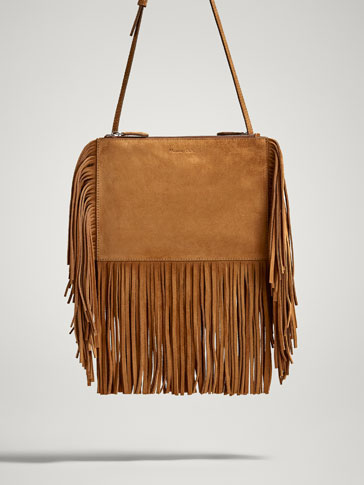 SPLIT SUEDE CROSSBODY BAG WITH FRINGE