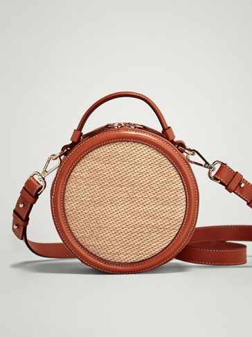 RAFFIA AND LEATHER CROSSBODY BAG