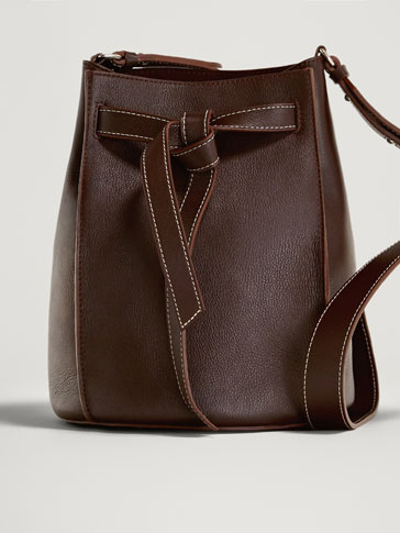 NAPPA LEATHER BUCKET BAG WITH TIE STRAP