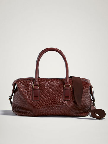 PLAITED LEATHER BOWLING BAG