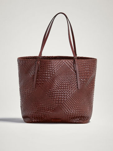 PLAITED LEATHER TOTE BAG