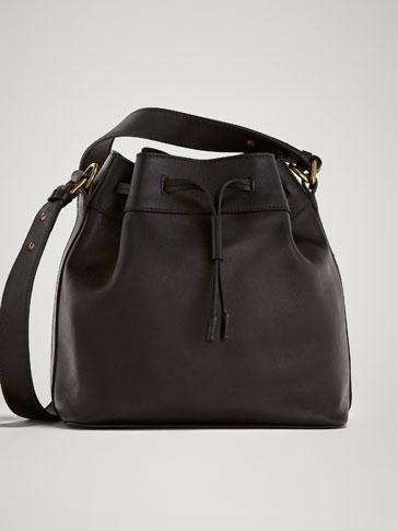 حقيبة صغيرة سوداء من جلد النابا