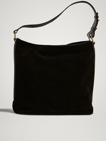 BLACK SPLIT SUEDE BAG