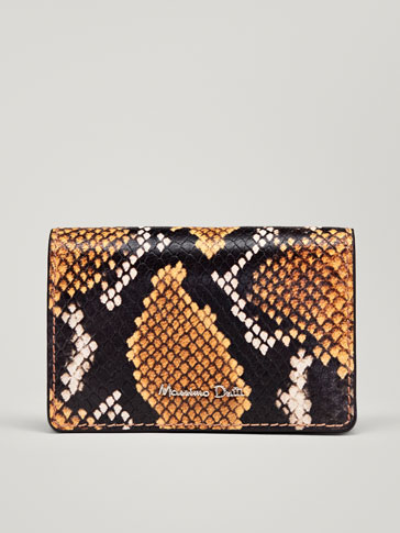 SNAKESKIN-EFFECT LEATHER CARD HOLDER