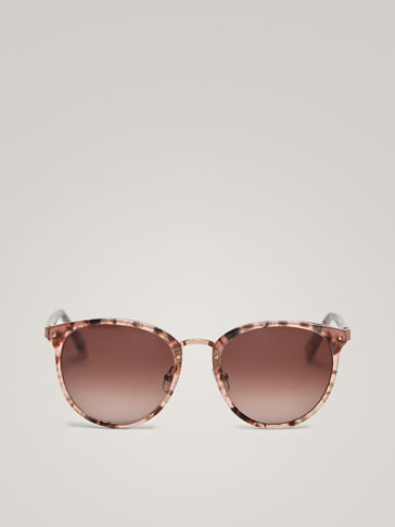 ROUND TORTOISESHELL SUNGLASSES WITH METAL STRUCTURE