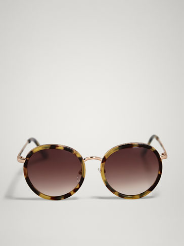 Round Tortoiseshell Sunglasses With Metal Bridge by Massimo Dutti