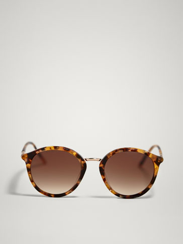 Round Tortoiseshell And Metal Sunglasses by Massimo Dutti
