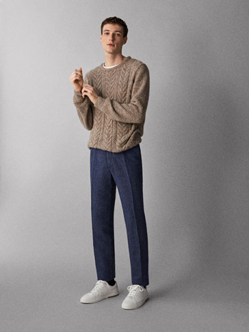 CASUAL FIT LINEN/COTTON CHINO TROUSERS